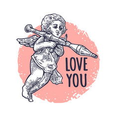 angel with a grenade launcher love you lettering vector image