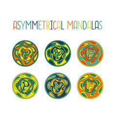 asymmetrical colorful mandala design set vector image