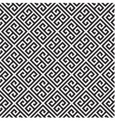 black and white greek key meander pattern vector image