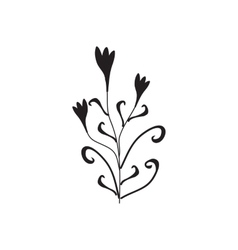 Black silhouette of flowers ornament vector image