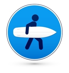 Blue round road sign with surfer vector image