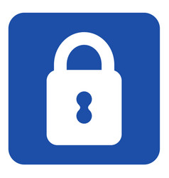 Blue white information sign - closed padlock icon vector