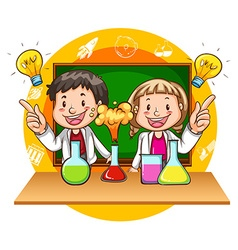 Boy and girl doing science experiment vector