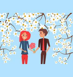 Boy presents bouquet to girlfriend vector