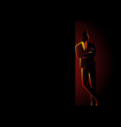 businessman leaning at dark blank space vector image