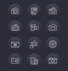 camera photography lenses line icons vector image
