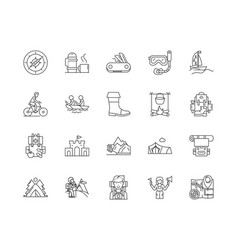 camps line icons signs set outline vector image
