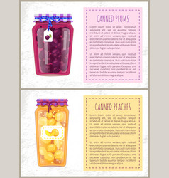 Canned plums and peaches set vector