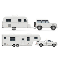 Car with rv camping trailers side view vector