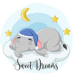 Cartoon elephant sleeping on clouds vector