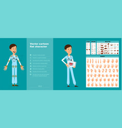 cartoon hospital doctor character big set vector image
