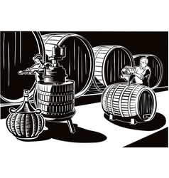 Cellar with big barrels of wine and men at work vector