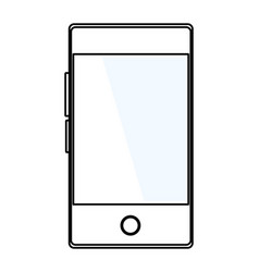 Cellphone in blank icon cartoon black and white vector