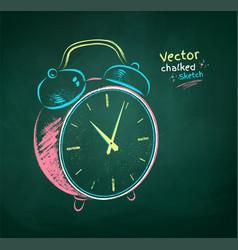 chalk drawn alarm clock vector image