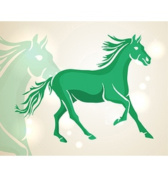 Chinese new year 2014 green running horse vector