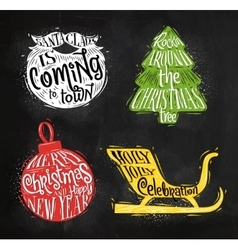 Christmas silhouettes ball chalk vector image