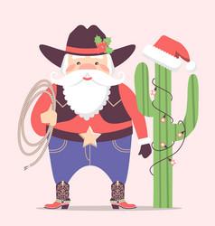 Cowboy santa claus with western hat and cactus vector