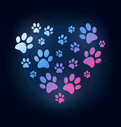 Creative heart with dog or cat paw prints vector