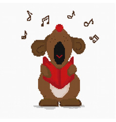 Cross-stitch dog loudly sings a musical greeting vector