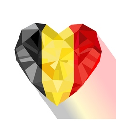 Crystal gem jewelry belgian heart with the flag of vector
