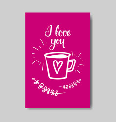 cute valentine day greeting card hand drawn doodle vector image
