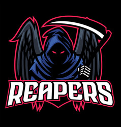 Dead mascot reaper with black wings vector