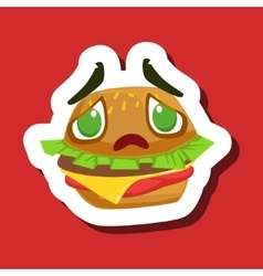 Disappointed And Sad Burger Sandwich Cute Emoji vector