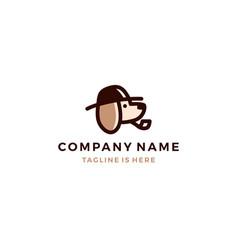 dog detective head using hat and smoking pipe vector image