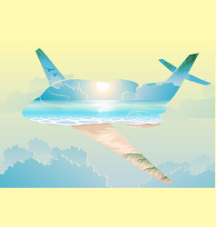 Double exposure airplane flight on exotic islands vector