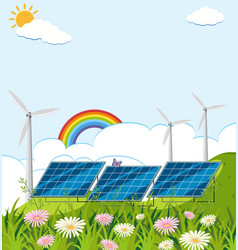 Field with solar cell and wind turbines vector