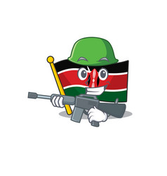 Flag kenya army cartoon with character happy vector