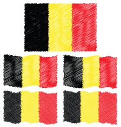 Flat and Waving Hand Draw Sketch Flag of Belgium vector image