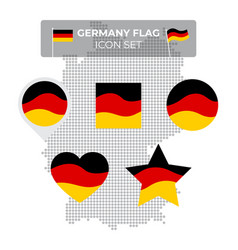 germany flag icons set in shape square vector image