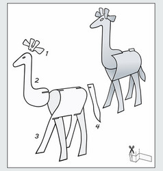 Giraffe from pieces paper composite figure vector