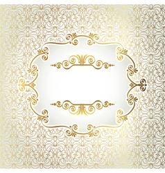 Gold antique frame on a light background of vector image