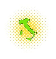 Green Italy map icon comics style vector image