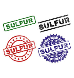 Grunge textured sulfur seal stamps vector