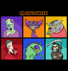 halloween holiday cartoon spooky characters set vector image