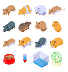 Hamster icons set isometric style vector