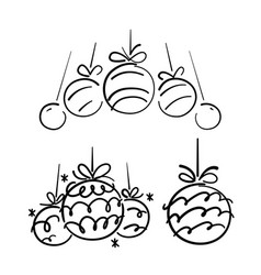 Hand drawn christmas ball doodle vector