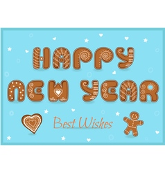 Happy new year Gingerbread font vector image