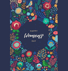 Happy womans day calligraphy design on square vector
