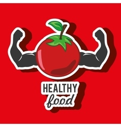 healthy vegetarian food label isolated icon design vector image