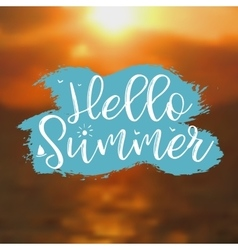 Hello Summer card with Sunset Background vector