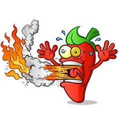 hot pepper cartoon erupting fire out his mouth vector image