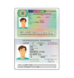 International open passport with liechtenstein vector