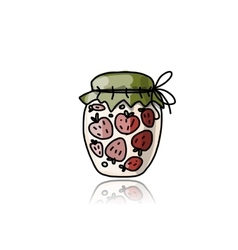 Jar with strawberry jam sketch for your design vector