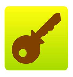 Key sign brown icon at green vector