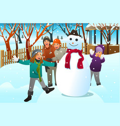 Kids and teenagers friends building a snowman vector
