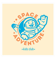 Kids club logo with happy astronaut cute vector